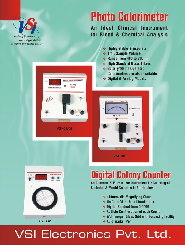 Front of Colorimeters & Colony  Counters Leaflet