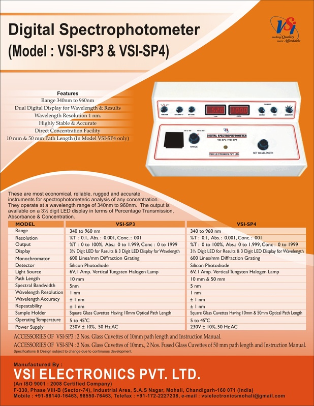 Digital Spectrophotometer Leaflet  - VSI-SP3/VSI-SP4