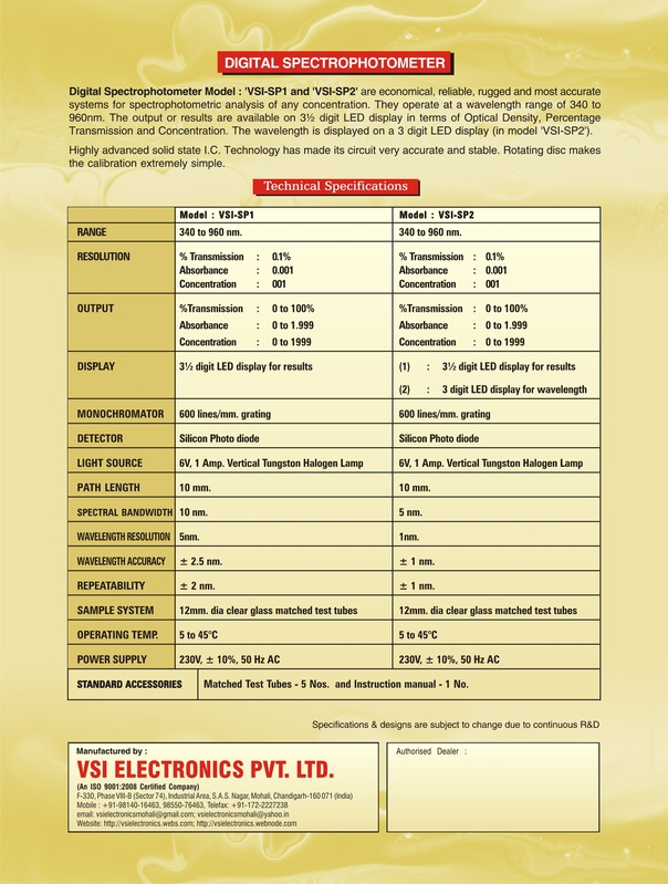 Back of Spectrophotometer Leaflet - VSI-SP1/VSI-SP2
