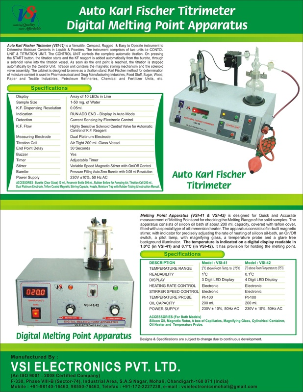 Leaflet of Karl Fischer Titrimeter & Digital Melting Point Apparatus