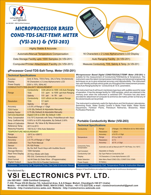Microprocessor Conductivity-TDS-Salinity Meters