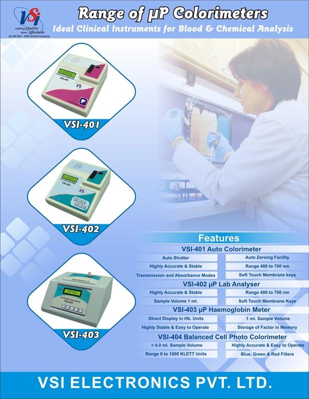 Front of Microprocessor Colorimeters, Haemoglobin Meter Leaflet