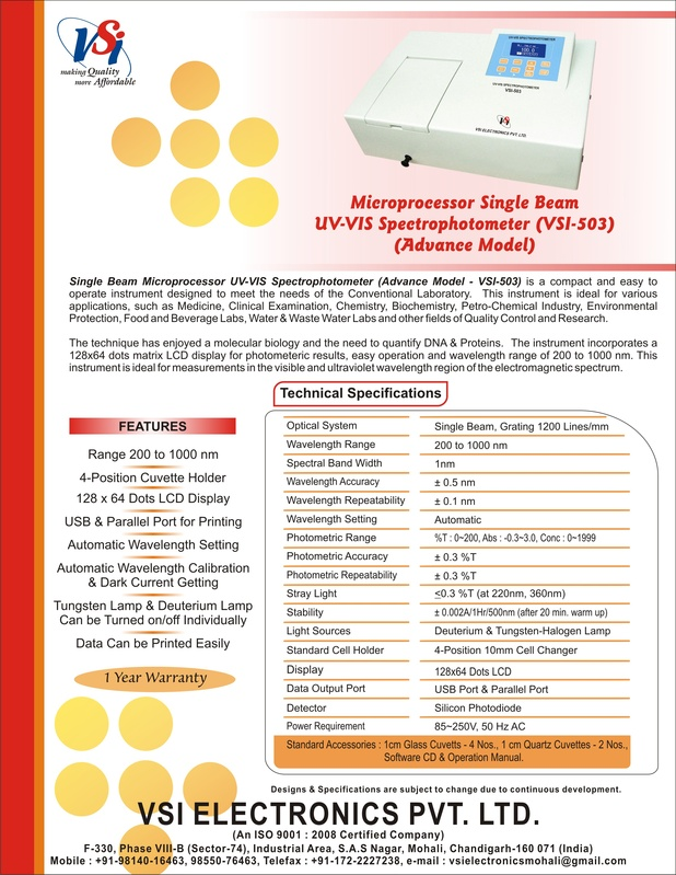 UV-Visible Spectrophotometer - single beam - Advance Model